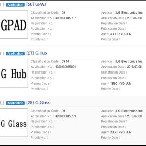 LG vient de déposer GPad, G Watch, GGlass, GBand, GLink etGHub